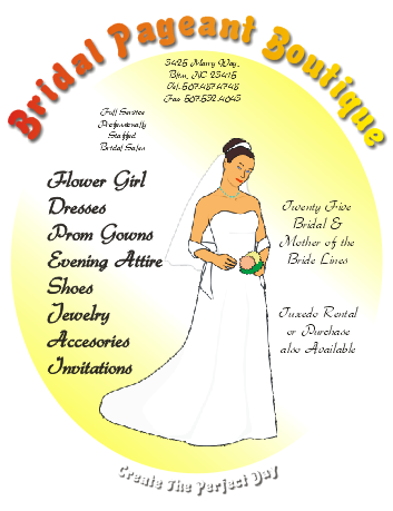 Corel Draw 12 Bridal Pageant Boutique Flyer