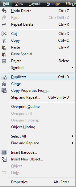 Corel Draw X5 Edit Menu Duplicate