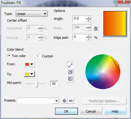 Corel Draw Fountain Fill Window Multicolor Gradient