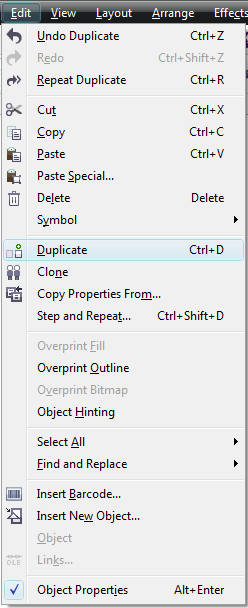 Corel Draw X6 Edit Menu Duplicate