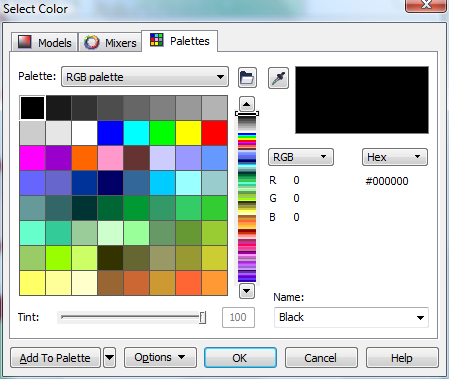 Corel Draw X6 Select Color Window