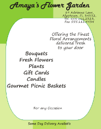 Corel Draw 12 Florist Flyer with Text