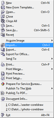 Corel Draw 12 File Menu - Import
