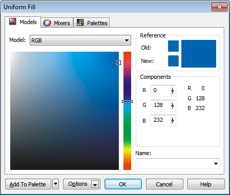 Corel Draw 12 Uniform Fill Window