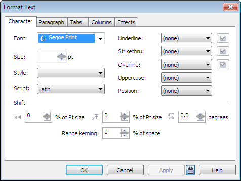 Corel Draw 12 Format Text Window