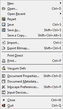 Inkscape File Menu Import