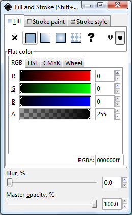 Inkscape Flat Color Options Tab