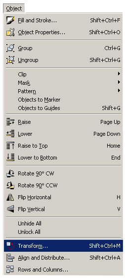 Inkscape Object Menu - Transform