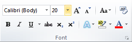 Microsoft Word Font Group Font Size