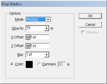 Adobe Illustrator Drop Shadow Window