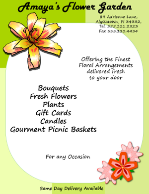 Florist Flyer Created with Adobe Illustrator