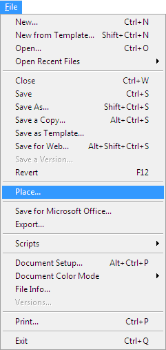 Adobe Illustrator File Menu Place
