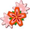 Adobe Illustrator 3 Grouped Flowers with Drop Shadow