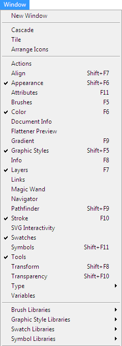 Adobe Illustrator Window Menu