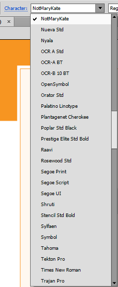 Adobe Illustrator CS6 Character Font List