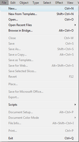 Adobe Illustrator CS6 File Menu New
