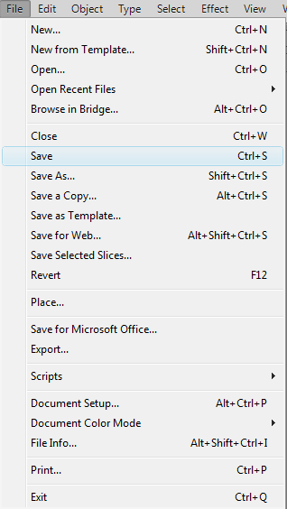 Adobe Illustrator CS6 File Menu Save