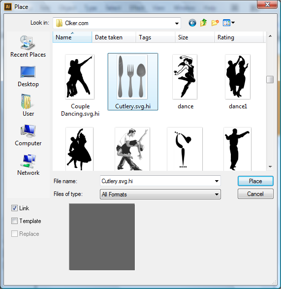 Adobe Illustrator CS6 Place Image Window