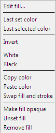 Inkscape Edit Fill Menu