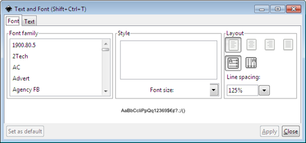 Inkscape Text & Font Window