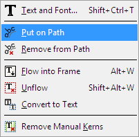 Inkscape Text Menu - Put on Path