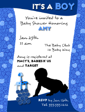 Baby Shower Invitation Boy Flyer Template | FlyerTutor.com