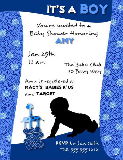 Baby Shower Invitation Flyer Template for a Boy