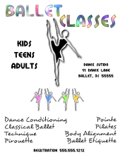 Ballet Dance Classes Flyer Template | FlyerTutor.com