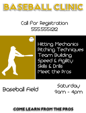 Baseball Clinic Flyer Template | FlyerTutor.com