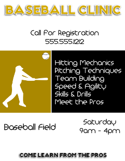 Baseball Clinic Flyer Template