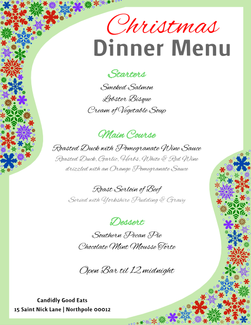 christmas dinner menu flyer template for inkscape free download