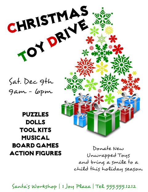 Christmas Toy Drive Flyer Template 2