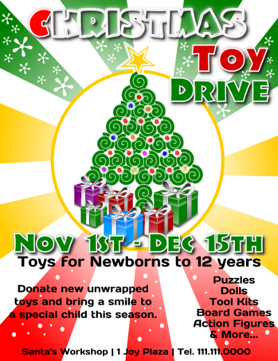 Announcement Email Sample Toys For Tots : Christmas toy drive flyer template free view larger