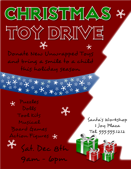 christmas toy drive flyer template larger view