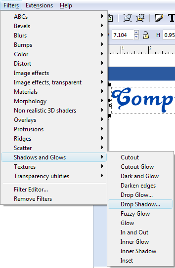 Inkscape Filter Menu Drop Shadow