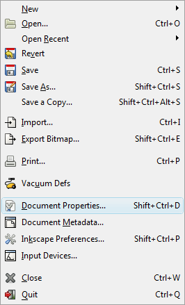 Inkscape File Menu - Document Properties
