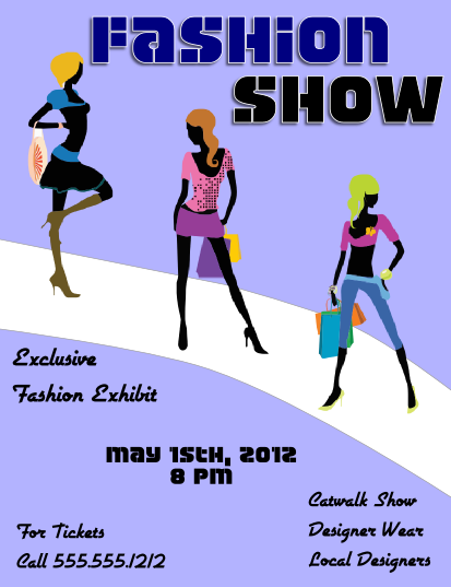 Fashion show flyer template large view for Fashion flyers templates for free