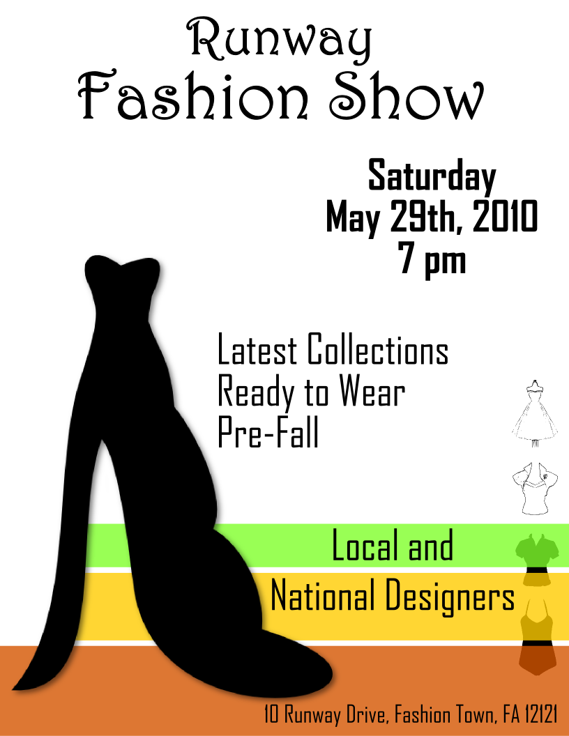fashion show flyer template 2 free view larger image. Black Bedroom Furniture Sets. Home Design Ideas