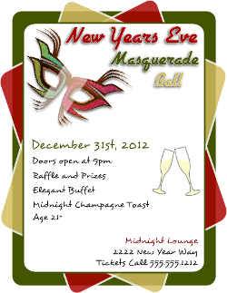New Year's Eve Masquerade Ball Flyer Template