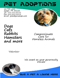 Free downloadable animals and pets flyer templates for Dog adoption flyer template