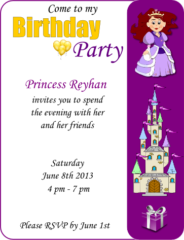 Princess Birthday Party Flyer Template