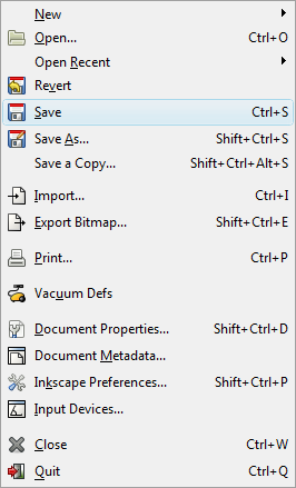 Inkscape File Menu - Save