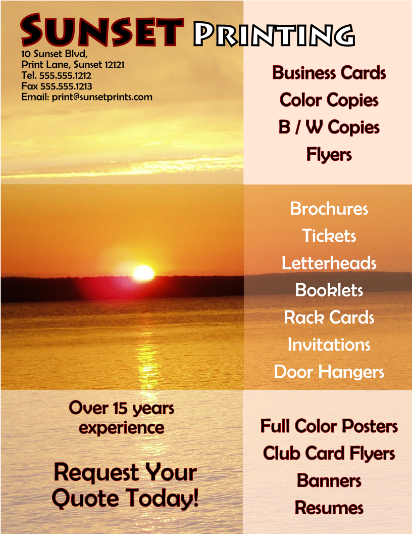 Sunset Printing Flyer Template