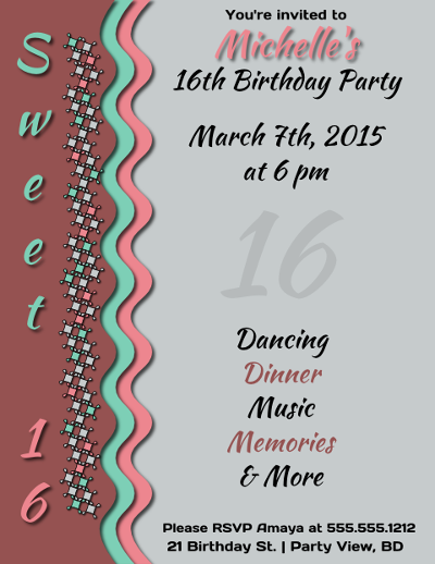 Sweet 16 Birthday Party Invitation Flyer Template