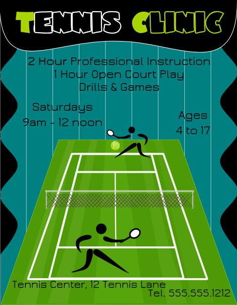 Tennis Clinic Flyer Template