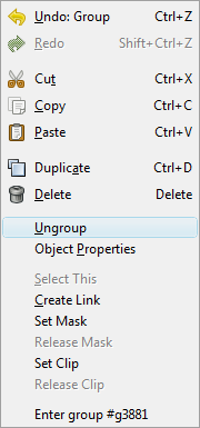 Inkscape Menu Ungroup
