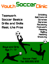 Youth Soccer Clinic Flyer Template | FlyerTutor.com