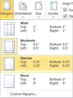 Microsoft Publisher 2010 Narrow Margins