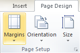Microsoft Publisher 2010 Page Setup Group Margins