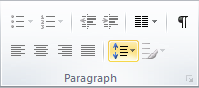 Microsoft Publisher 2010 Paragraph Group Line Spacing Icon